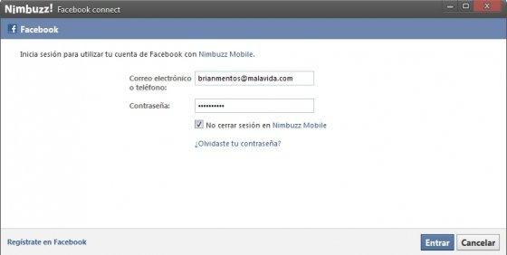 Añadir datos de usuario de Facebook a Nimbuzz