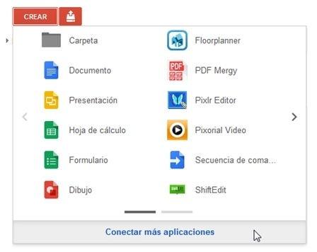 Nuevo menú Crear en Google Drive