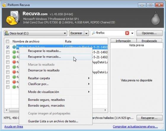Recuperar un archivo borrado con Recuva