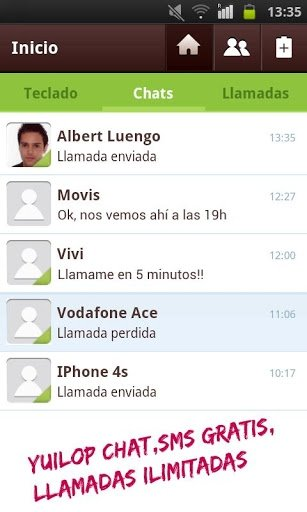 Enviar mensajes gratis con Yuilop