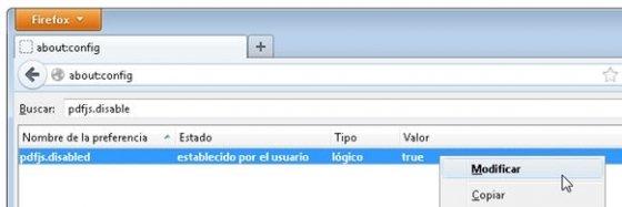Opción para activar o desactivar el lector PDF integrado de Firefox