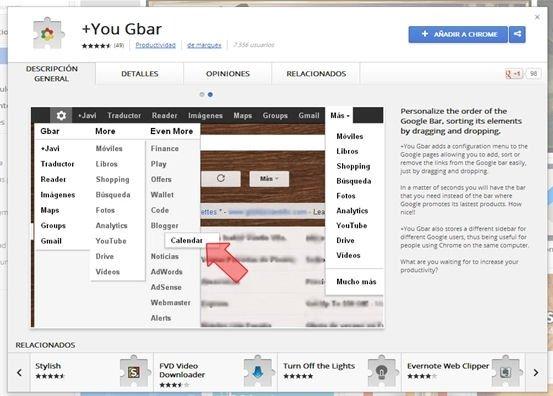 Extensión vista en la Chrome Web Store