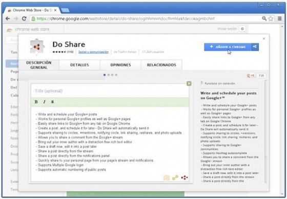 Do share en la Chrome Web Store