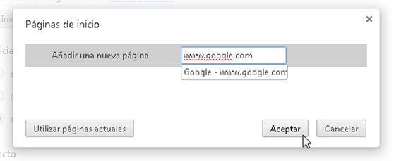 Establecimiento de Google como página de inicio
