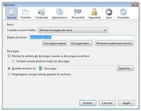 Establecer página de inicio en Mozilla Firefox