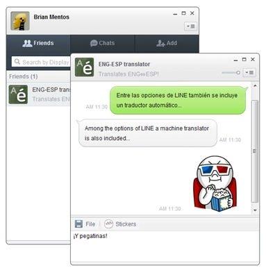 Conversación de prueba de chat en LINE