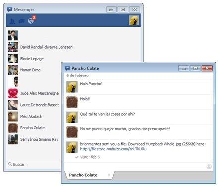 Ventana de Facebook Messenger en plena conversación