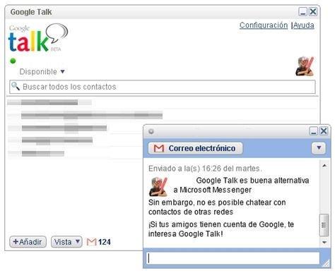 Ventana de Google Talk en plena conversación