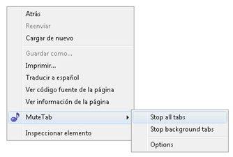 Opciones de MuteTab desde el menú contextual