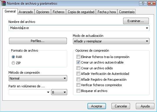 Crear un archivo autoextraíble con WinRAR