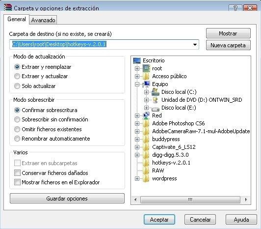 Descomprimir archivos con WinRAR