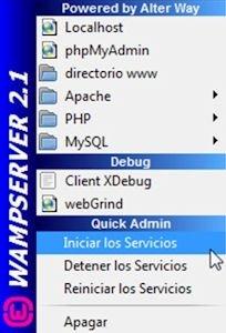 Iniciar servicios de Wampserver