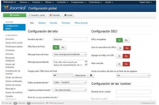 Interfaz de Joomla! en español