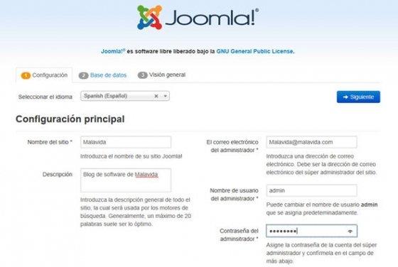 Primer paso de la instalación de Joomla!