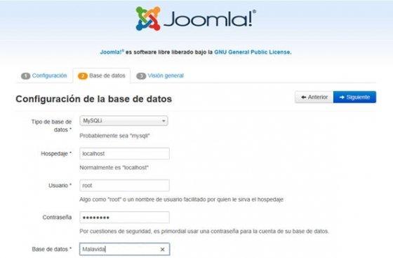 Segundo paso de la instalación de Joomla!