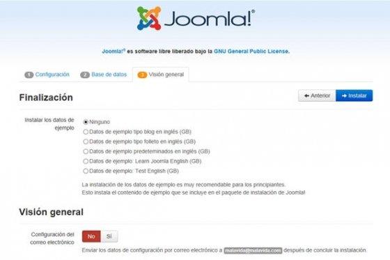 Tercer paso de la instalación de Joomla!