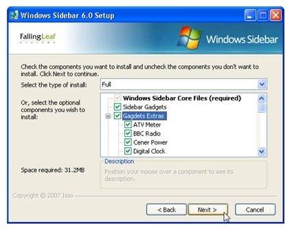 Instalación de Windows Sidebar