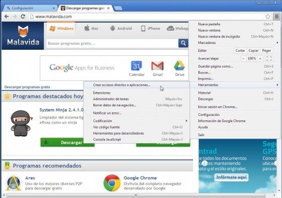 Establecer páginas de inicio en Google Chrome