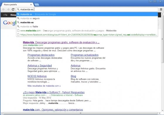 Instant Search en la barra de direcciones con Google Chrome
