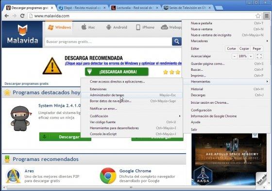 Iniciar administrador de tareas de Google Chrome