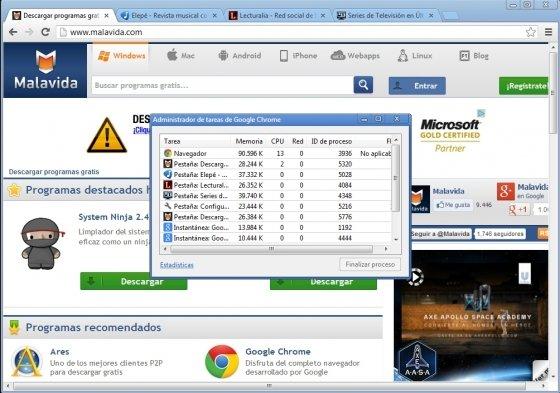Cancelar proceso activo en Google Chrome