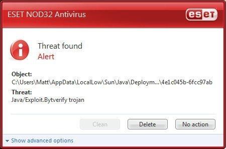 Ventana de alerta de un software antivirus