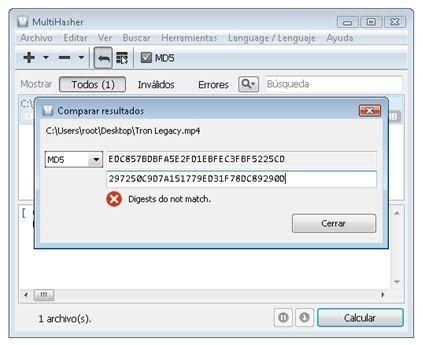 Compara el valor de hash de dos archivos