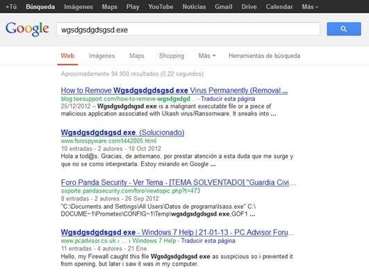 Resultados de búsqueda en Google de una posible amenaza de seguridad