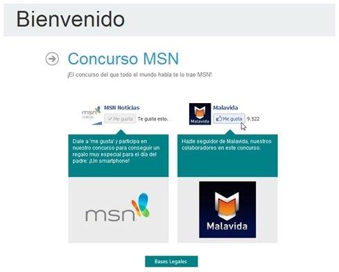 Haz Me gusta en el perfil de Facebook de MSN y Malavia