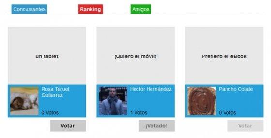 Ranking de participantes y opciones para votar