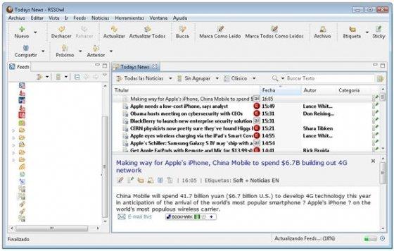 Interfaz del lector de escritorio RSSOwl
