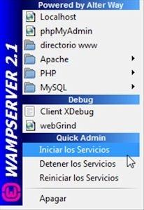 Arrancar servicios de Wampserver