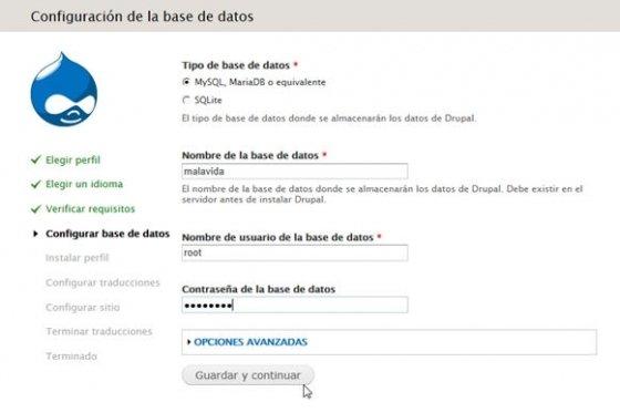 Configura la base de datos de Drupal