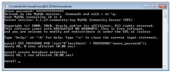 Consola de MySQL