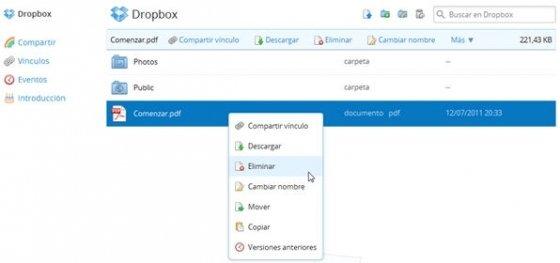 Interfaz web de Dropbox