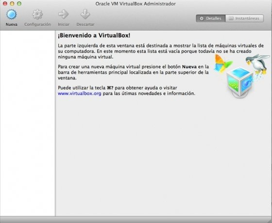 Interfaz de Virtual Box