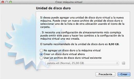 Seleccionar el tipo de archivo de la unidad de disco para la máquina virtual
