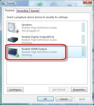 Conexión de audio HDMI en el PC