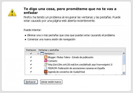 Cuelgue de Firefox