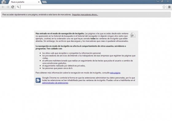 Atajo de teclado para navegación en modo incógnito para Google Chrome
