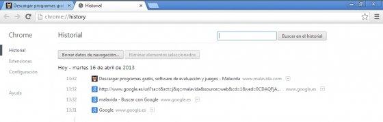 Atajo de teclado para funciones como Historial o Descargas Google Chrome