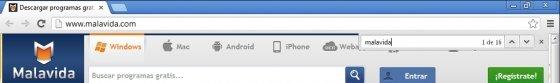 Atajo de teclado para accesos directos en páginas de Google Chrome