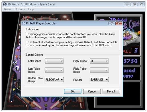 Configuración de controles de Pinball Space Cadet en Windows Vista