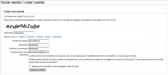 Crear una cuenta en Wikipedia