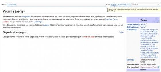 Editar artículo de Wikipedia ya existente