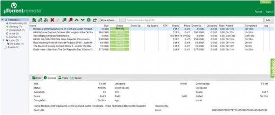 Interfaz web de uTorrent Remote