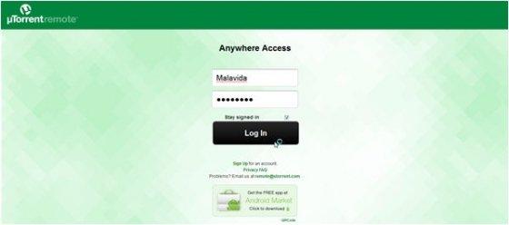 Web de uTorren Remote