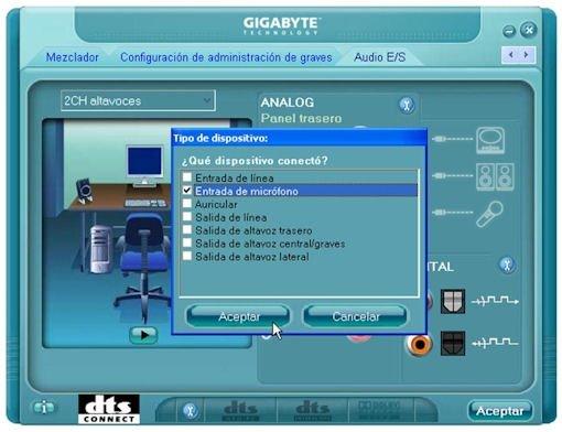 Panel de configuración de la tarjeta de sonido integrada