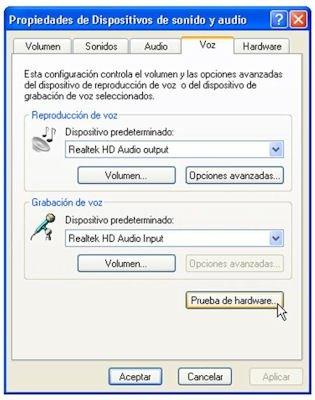Opción de prueba de hardware de dispositivos de audio y voz