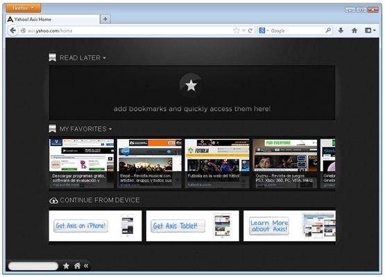 Home o página principal de Yahoo! Axis